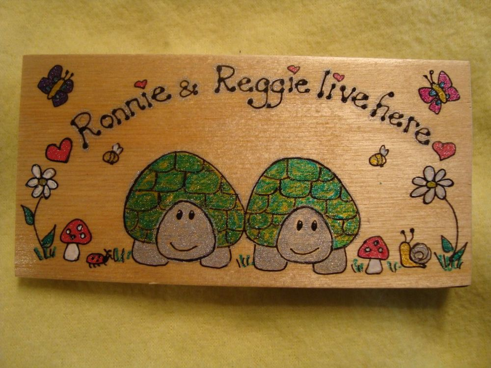 2 Character Personalised Tortoise Flat Plaque Sign  For Bedroom, Vivarium Tortoise Table Garden Playroom Handmade OOAK